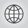 Vector clipart: Globe icon flat, on gray background